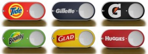 amazon-dash-buttons various examples buggies, gillette, tide, bounty, Glad