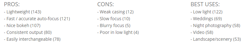 Example eight: an aggregate list of pros and cons.