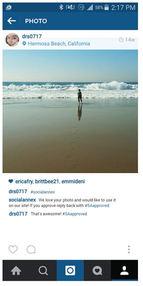 An Instagram user confirms that you may use their photo.