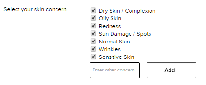 An example of suggested specific concerns for a skincare product review
