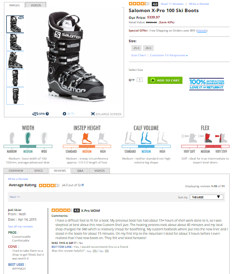 """Example two: Skis.com's structure has users click a specific tab to view reviews. Notice in the image that the """"Reviews"""" tab is white while """"Overview,"""" """"Specs,"""" """"Q&A,"""" and """"Videos"""" are grey/"""