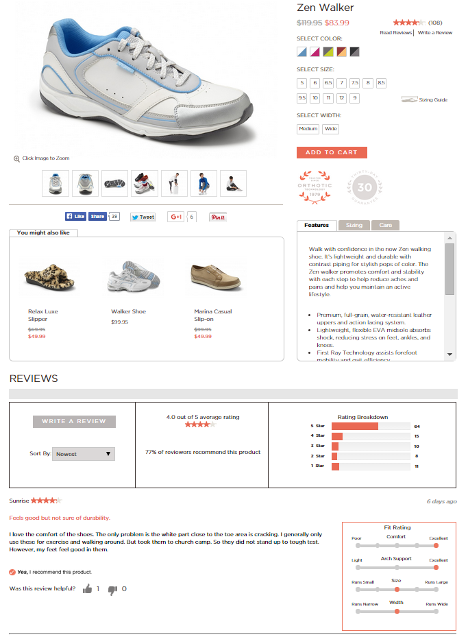 Example one: Vionic Shoes' website just lets users scroll down to see reviews.