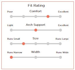 An example of sub-ratings options for a shoe review.