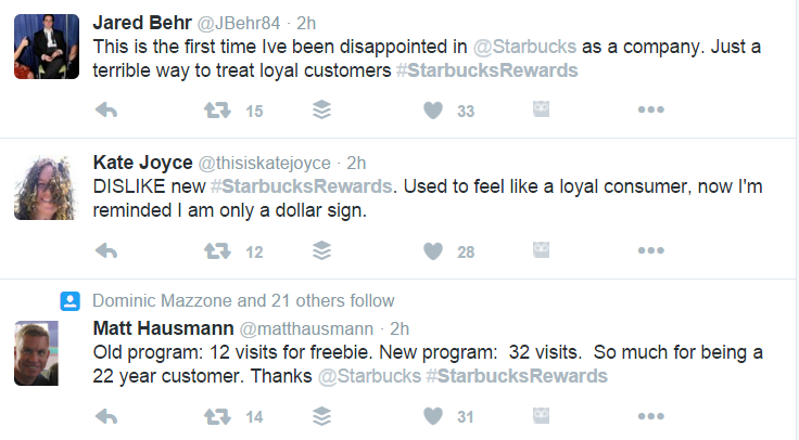 Customers are up in arms about the new Starbucks loyalty program.