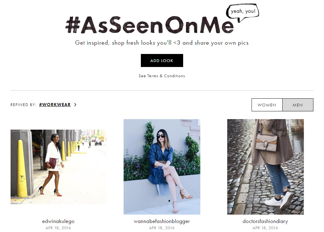 ASOS's successful visual commerce gallery shows off their customers.