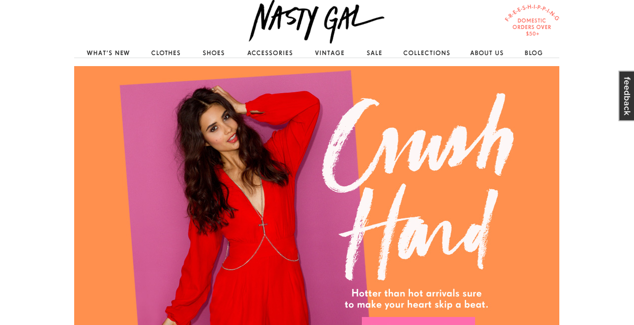 Nasty Gal came out at number one on the list of top ecommerce sites.