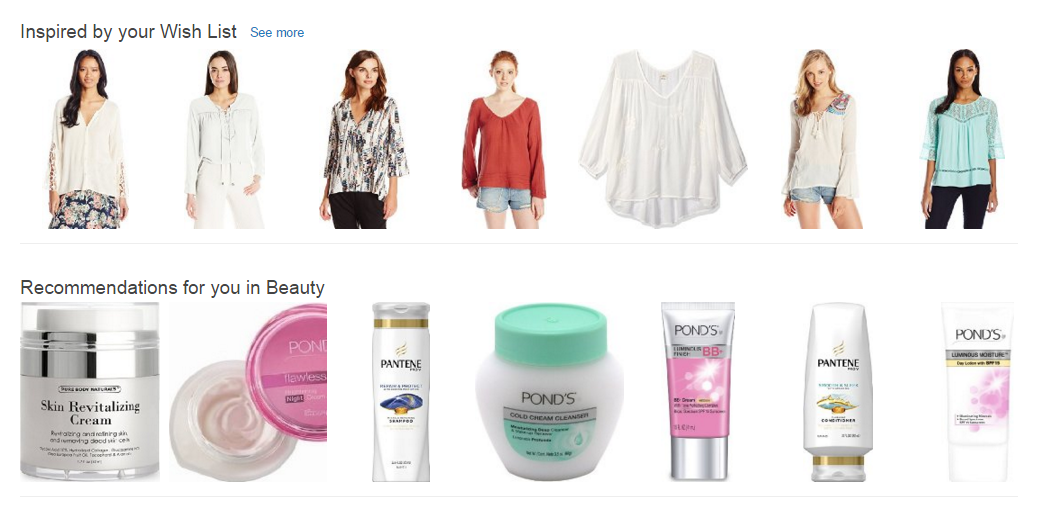 Personalised recommendations on Amazon.com