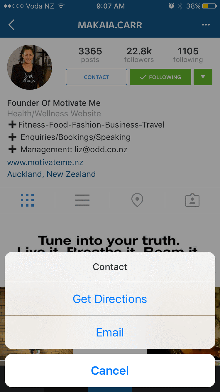 Contact and location for Instagram business profiles