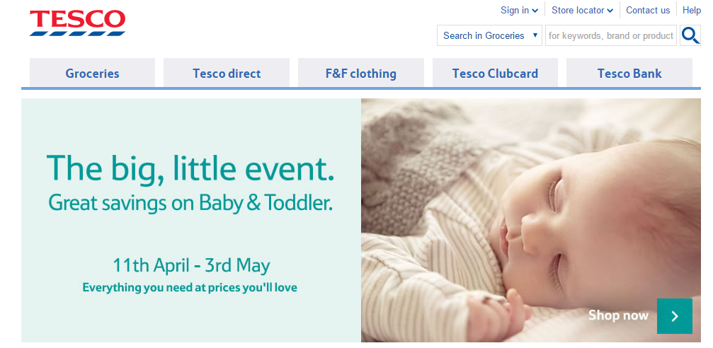 A clear call to action and focus image on Tesco's homepage.