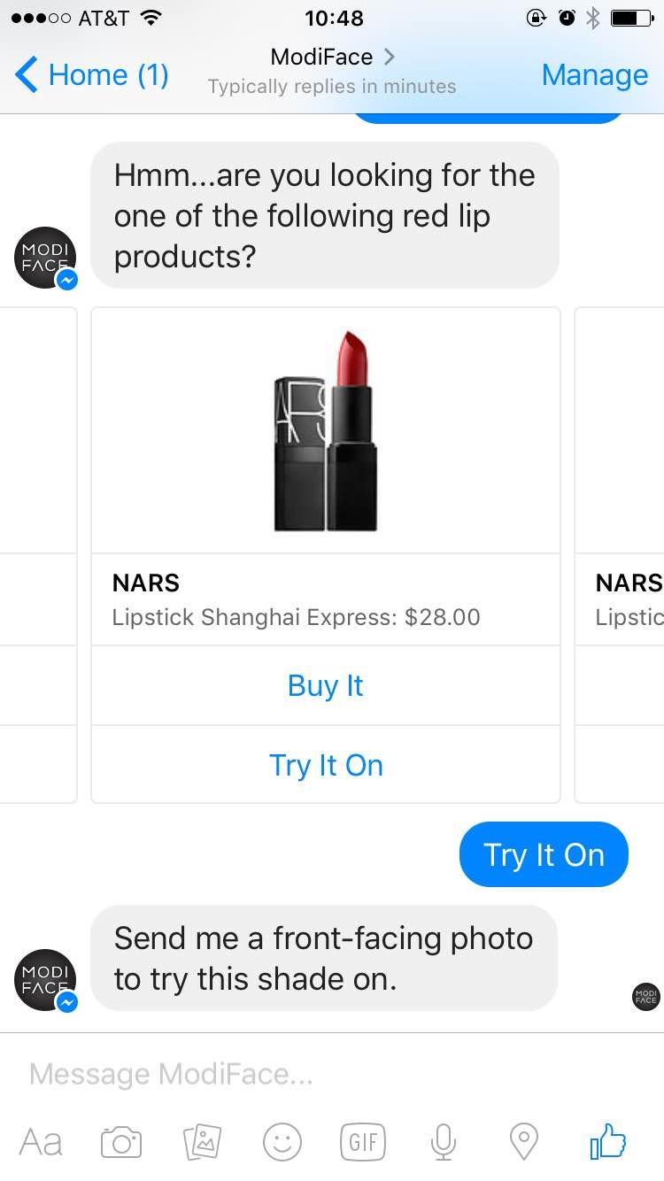 ModiFace offers different lipsticks for users to virtually try on.