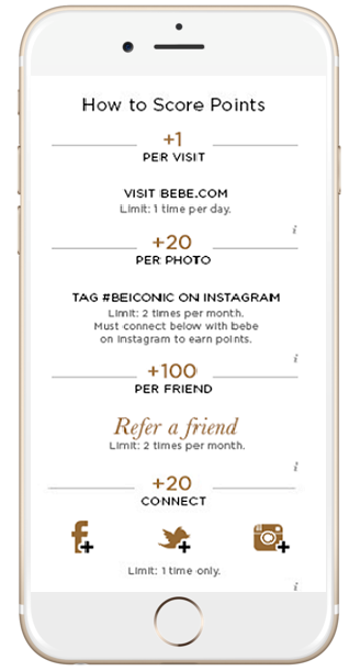 Annex Cloud client Bebe rewards shoppers for purchasing, referring friends, hashtagging photos, and even visiting their website!