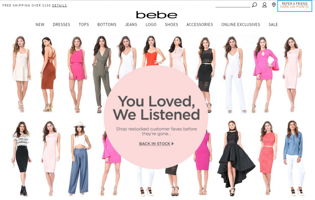 bebe refer a friend on homepage