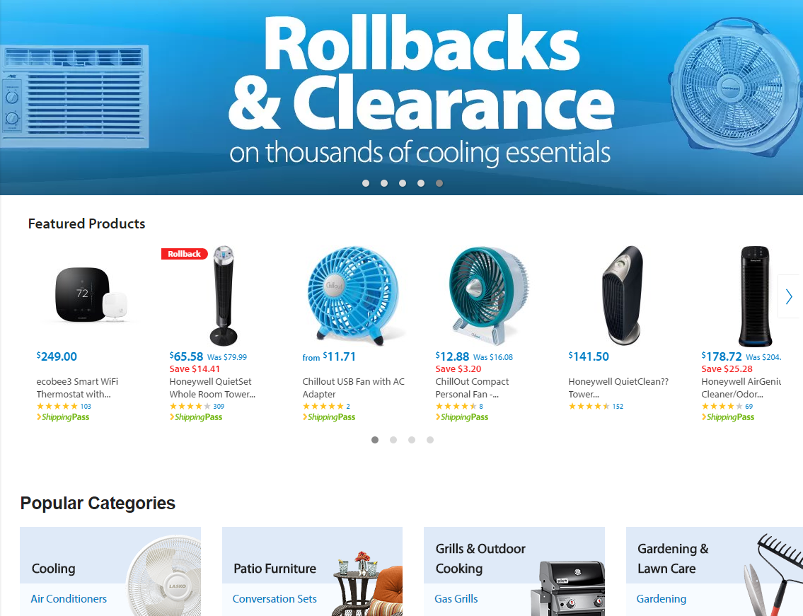Wal-Mart puts discounts up top, and has a curated selection of one type of product.
