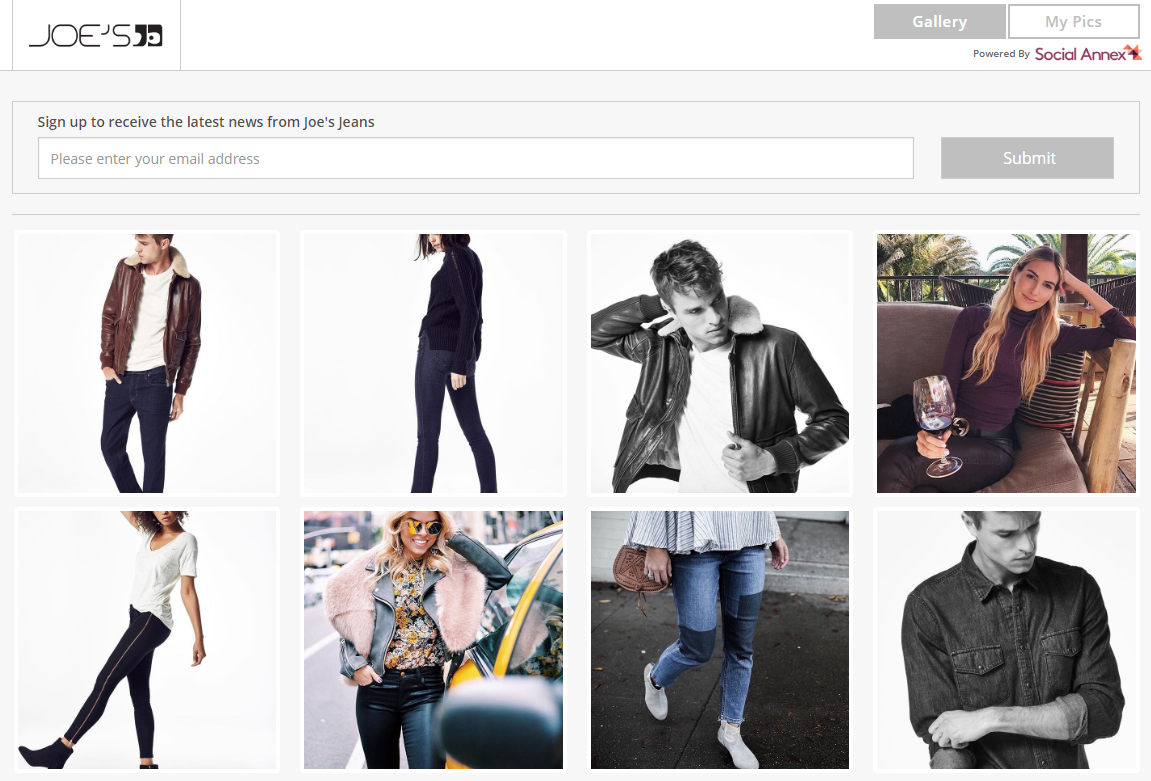 The Shoppic.me gallery for Joe's Jeans. Each image links mirrors the brand's Instagram, and links out to the specified product page.