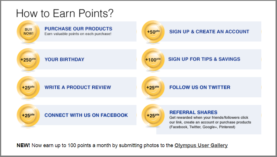 Olympus Camera gives its loyalty members points for a variety of engagement actions.