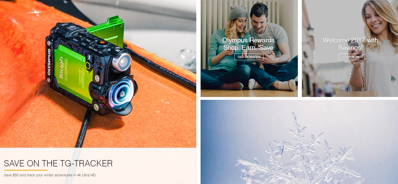 Olympus Camera advertises its rewards program on its homepage.