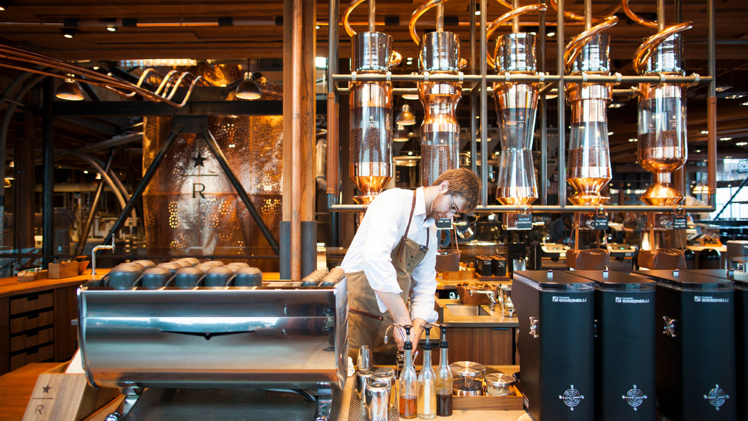 A Starbucks Roastery bar (picture from the New York Times).