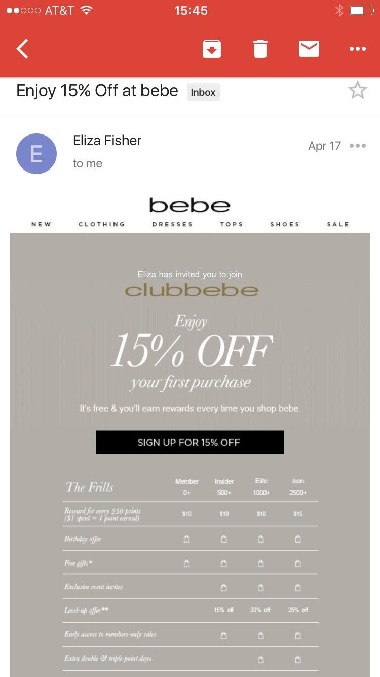 This referral invitation email from Bebe is concise and emphasizes that it's coming from a friend.