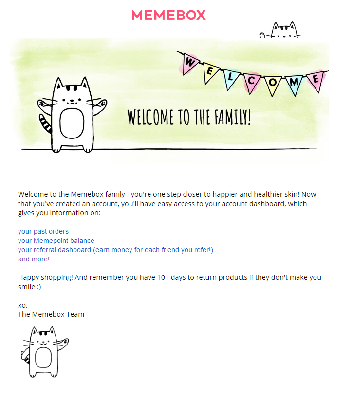 Memebox, a beauty site, includes a referral CTA in its welcome email.