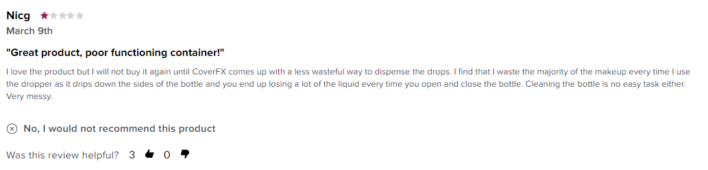 This negative review of a concealer provides helpful information for prospective shoppers.