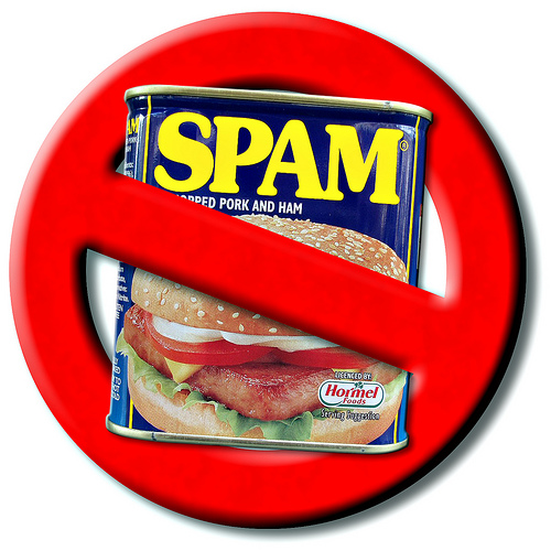 Can of Spam circled and crossed out in red. Photo manipulation by hegarty_david at Flickr. Attribution-NonCommercial license. Spam meat product registered by Hormel.