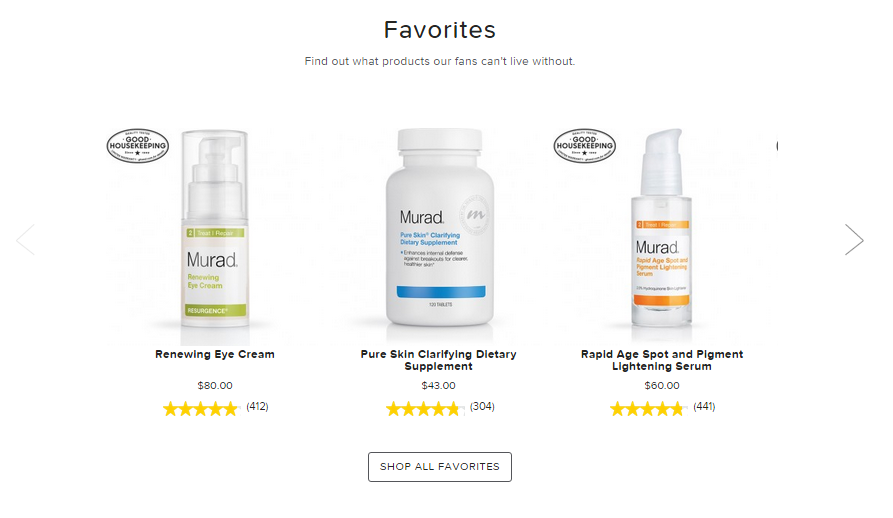 Example three: Murad, a skincare brand, displays stars underneath product pictures on category and search pages.