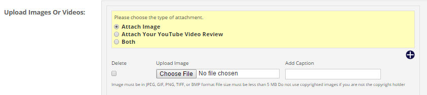 Photo and video upload fields for a review.