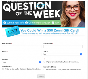 zenni optics Facebook page contest