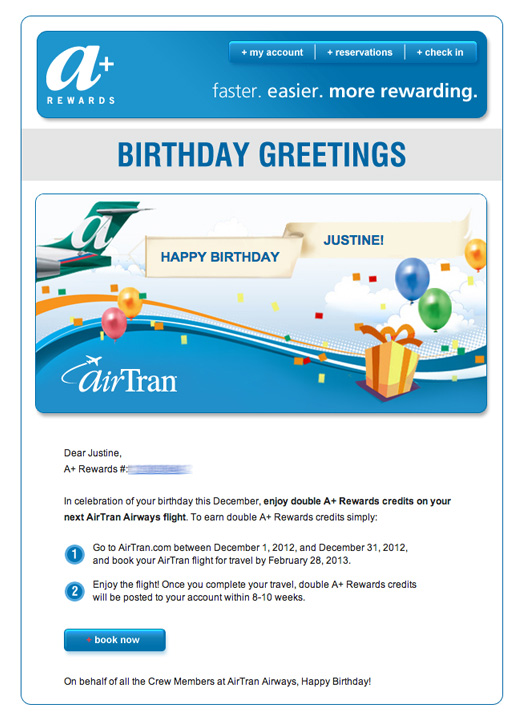 An AirTran birthday email that awards extra points.