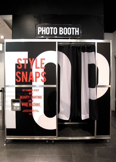 Topshop's in-store photo booth at their London flagship location.
