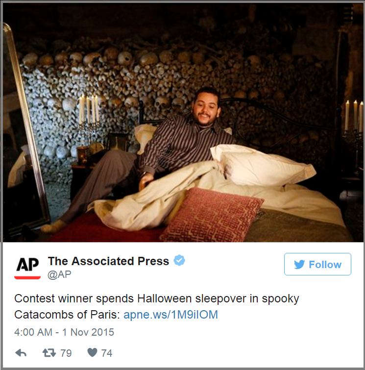 Airbnb's winner spending the night in the Paris catacombs.
