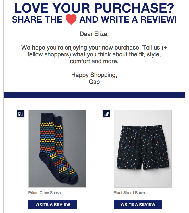 This email from the Gap asks the shopper about multiple products at once.
