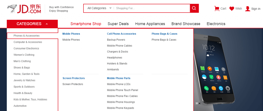 An example of categorization on JD.com.