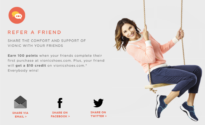 Vionic footwear has a referral program