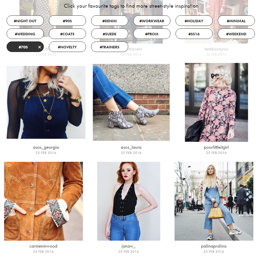 asos visual commerce tags