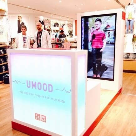 "Uniqlo's in-store tecnology includes a ""UMood"" booth."