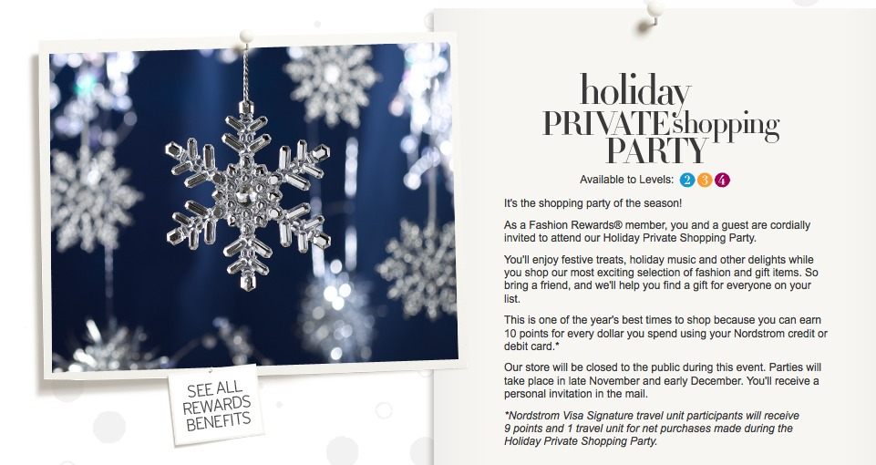 Nordstrom throws holiday parties for its loyalty program members.