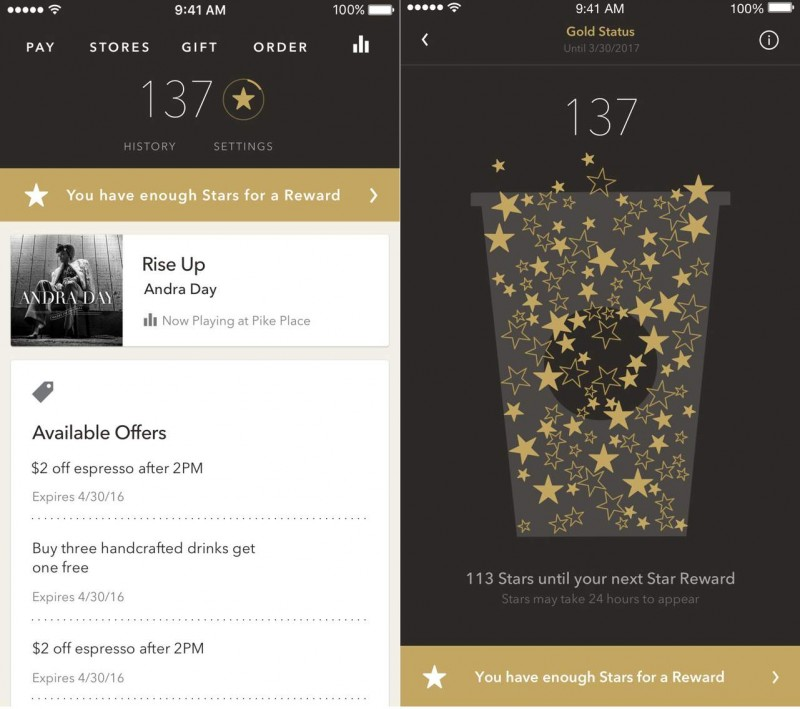 Starbucks' mobile wallet and loyalty app reflects customers' personal preferences and spending.