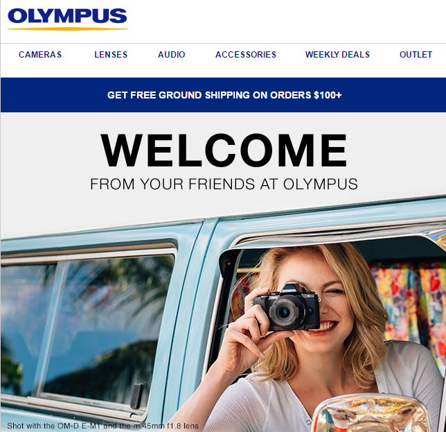 olympus welcome email