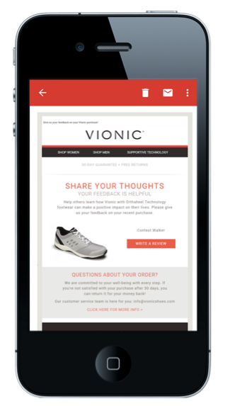 An example of a well-designed review solicitation email from Vionic footwear.