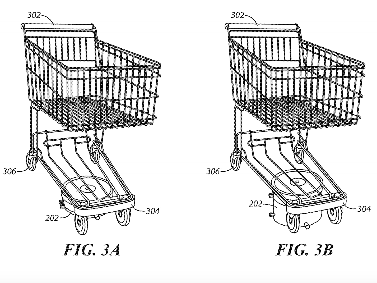 This illustration shows that Walmart's self-driving shopping carts will have motorized transport units on the bottom of normal carts.