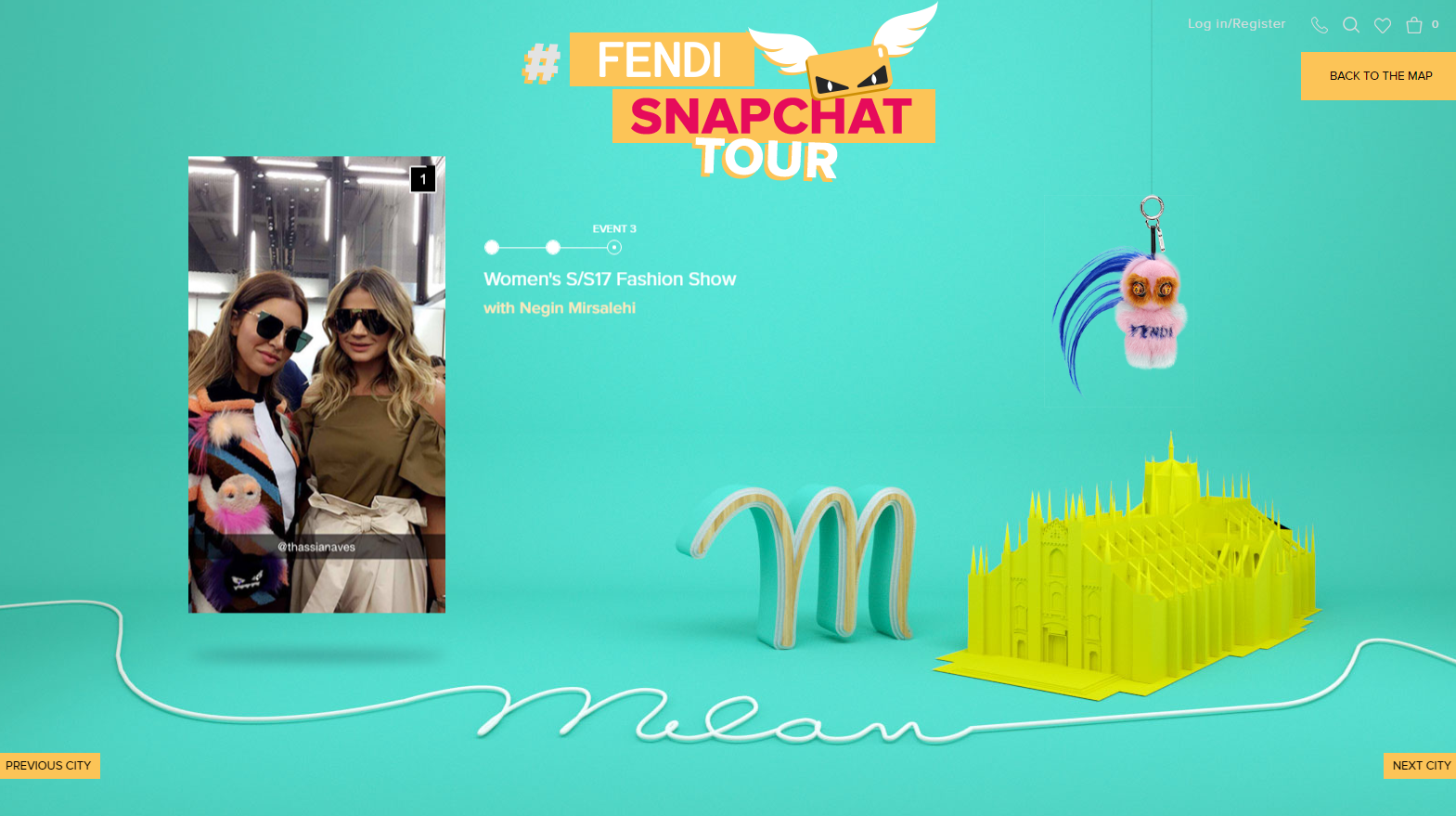 A screenshot of Fendi's Milan takeover with Negin Mirsalehi.