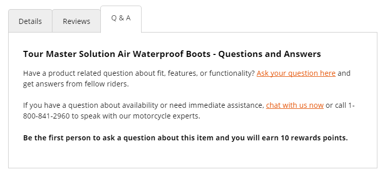 Chaparral Motorsports encourages users to ask and answer questions with loyalty points.