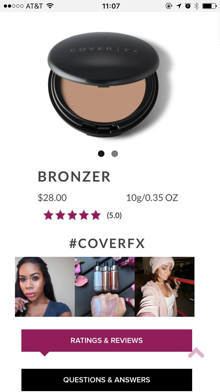 An example of user generated content on CoverFX's product page.