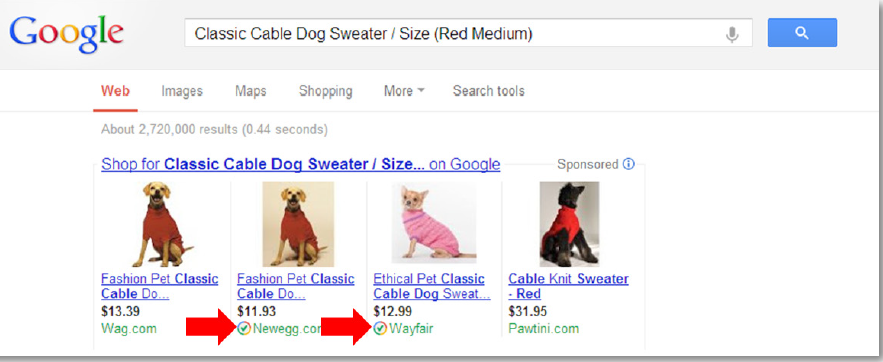 Google Trusted Stores displays a check next to compliant merchants' search results and ads.