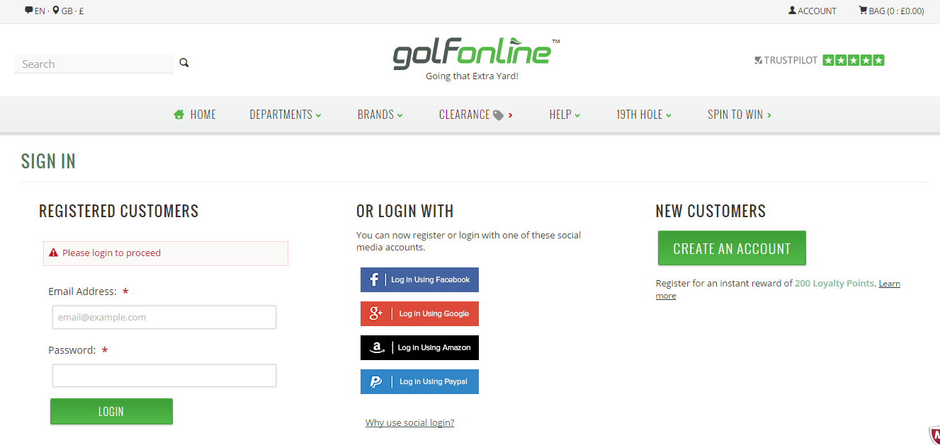 "Golf Online has an ""Account"" button on the top right, and makes it visually clear to users that Social Login is an alternative way of logging in. They also have a ""Why use social login?"" link."
