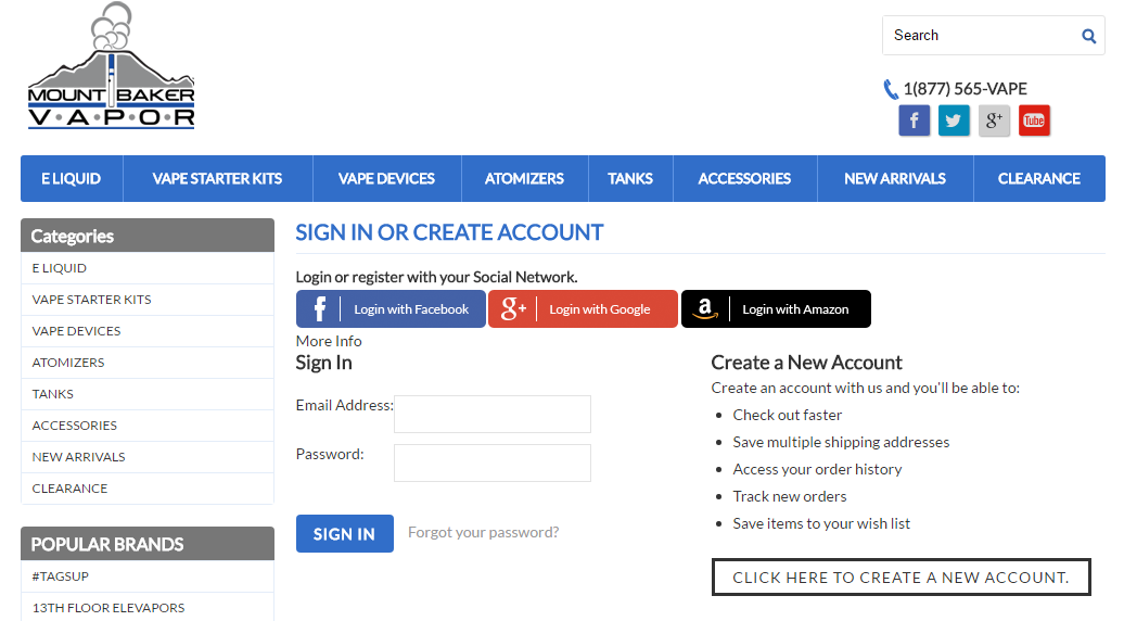 Mount Baker Vapor, a larger e-cigarette retailer, offers social login to its users.