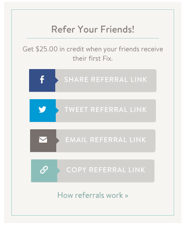 Social sharing- refer a friend