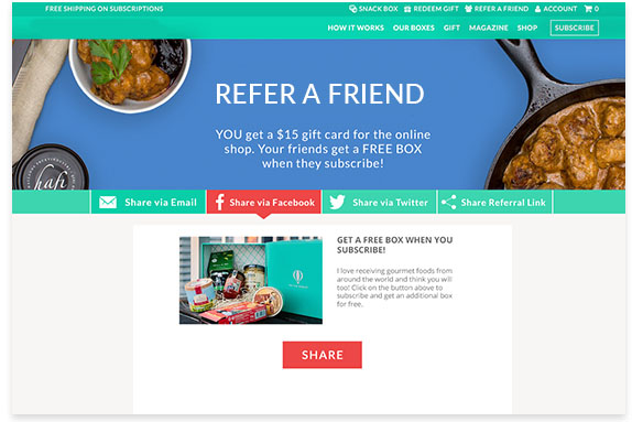Refer a friend on website