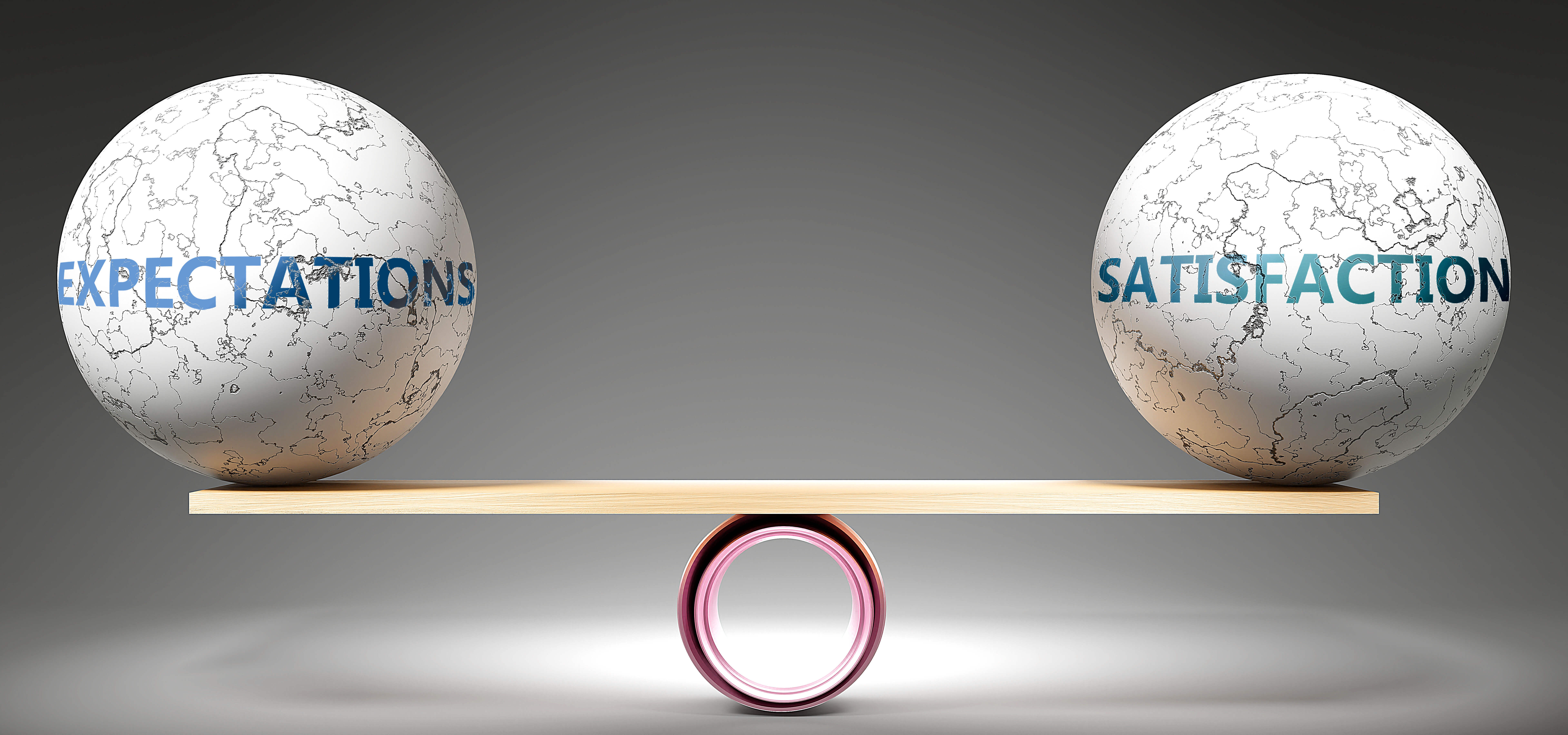 Expectations and satisfaction in balance - pictured as balanced balls on scale that symbolize harmony and equity between Expectations and satisfaction that is good and beneficial., 3d illustration